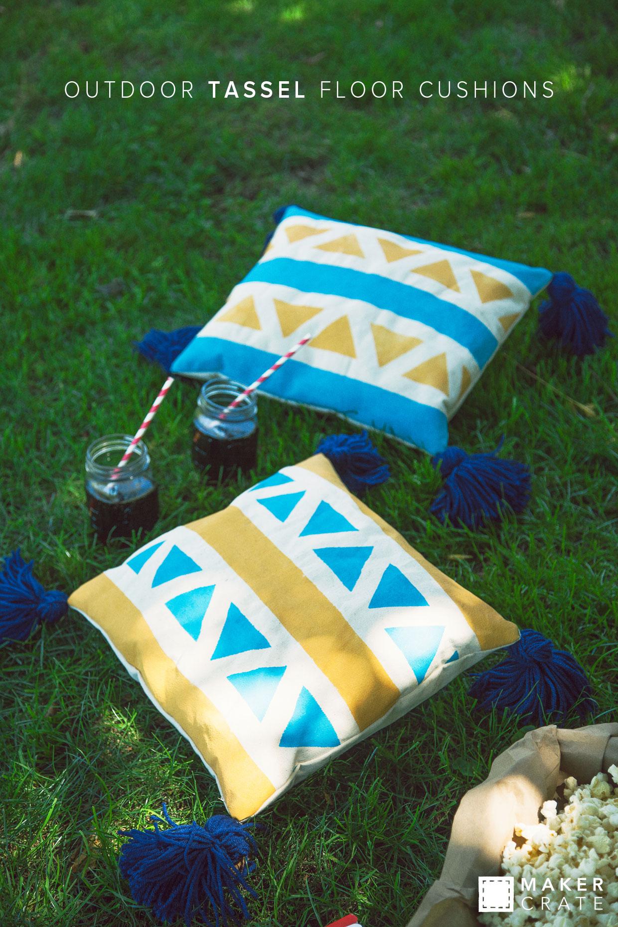 Outdoor Tassel Floor Cushions   Maker Crate