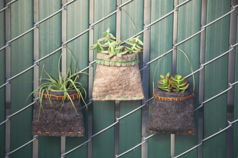 Elegant Hanging Felt Planters