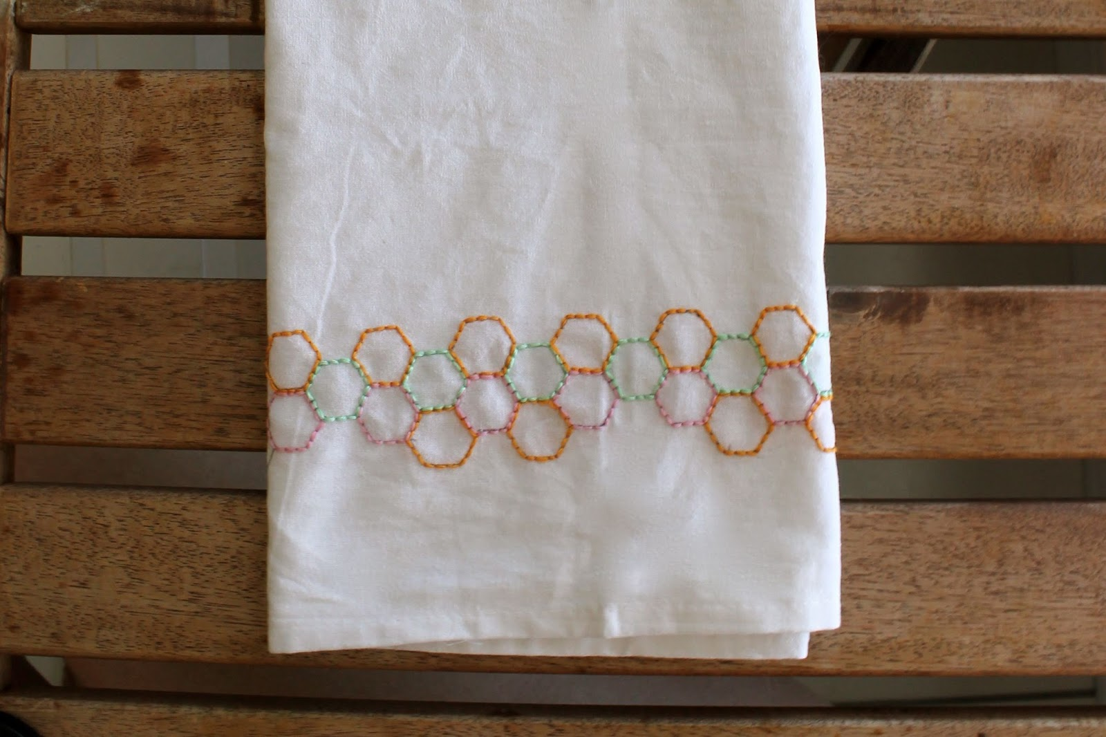 Dress Tea Towel Hexagon Embroidered Tea Towel