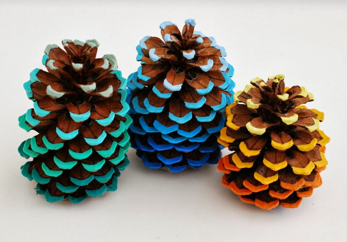 Ombre painted pinecones maker crate for Pine cone art projects