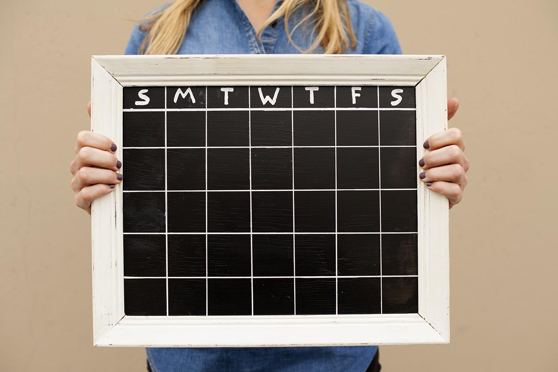 Framed Chalkboard Calendar Maker Crate